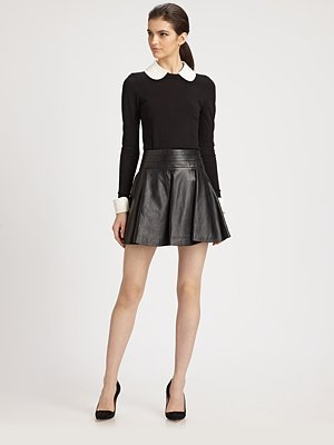 Milly Leather Delphine Swirl Skirt