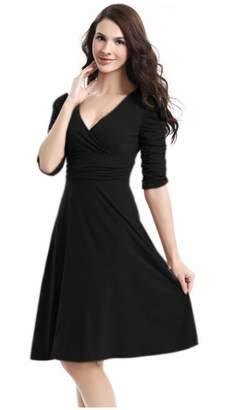 Best Nest Wellness Bestgift Women's Solid Color V-Neck High Waist Pile Long Sleeves A-Line Dress M