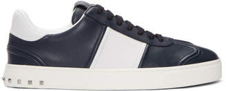 Valentino Navy and White Garavani Flycrew Sneakers