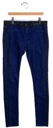 Blank NYC Girls' Leather-Trimmed Denim Bottoms