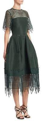 Oscar de la Renta Silk Patchwork Dress