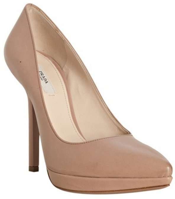 Prada nude leather pointed toe pumps
