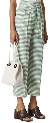 Whistles Gingham Wide-Leg Cropped Pants