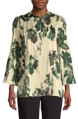 Donna Karan Printed Pleated Blouse