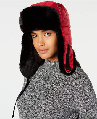 DKNY Quilted Puffer Faux-Fur Trapper Hat