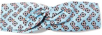 Fendi Printed Silk-satin Headband - Light blue