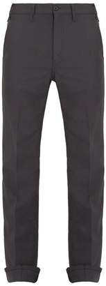 Prada Mid Rise Tapered Leg Wool Trousers - Mens - Grey