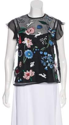 Markus Lupfer Silk Embroidered Top