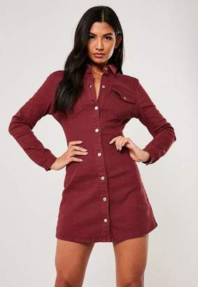 Missguided Red Long Sleeve Stretch Denim Mini Dress