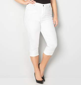 Avenue Virtual Stretch Wide Cuff Capri (White)