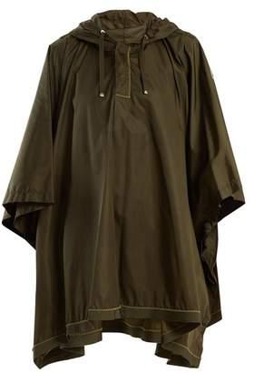 Moncler Hooded Contrast Stitch Cape - Womens - Khaki
