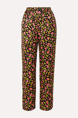 Balenciaga Floral-print Silk Satin-jacquard Wide-leg Pants - Black