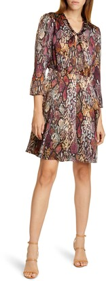 Rebecca Taylor Snake Print Silk Dress