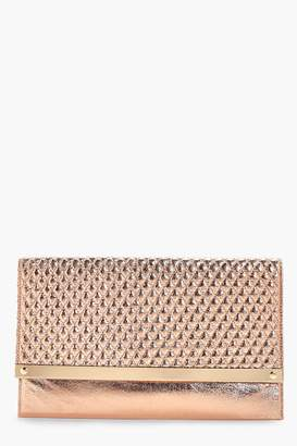 boohoo Quilted Metal Bar Clutch Bag