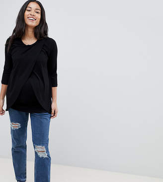 Asos Kimmi Shrunken Boyfriend Jeans In Rachel Wash With Rips And Let Down Hem With Over The Bump Waistband