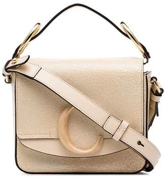Chloé beige C ring small leather shoulder bag