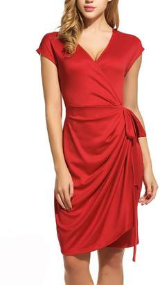 Pagacat Plunging Neckline Dress Womens Cap Sleeve Solid Wrap Summer Dress (, XL)