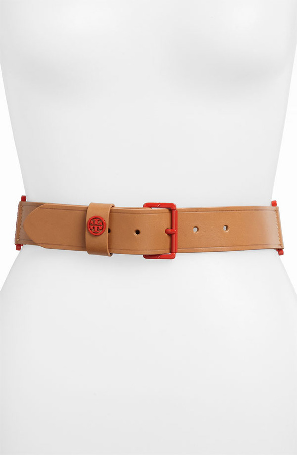 Tory Burch Vachetta Leather Stretch Belt