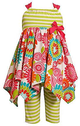 Bonnie Baby Newborn Mixed-Media Handkerchief-Hem Dress & Striped Leggings Set