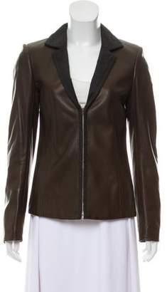 Loro Piana Leather Notch-Lapel Jacket