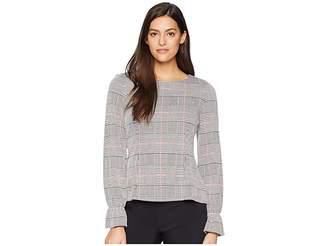 Nine West Long Sleeve Ruffle Cuff Knit Plaid Blouse Women's Blouse