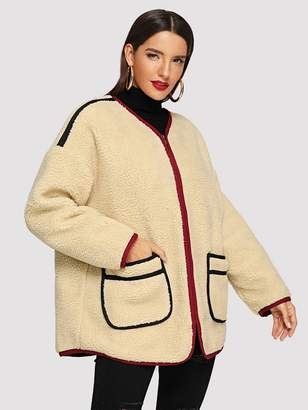 Shein Drop Shoulder Dual Pocket Teddy Jacket