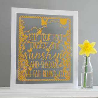 mooks design 'Keep Your Face Towards The Sunshine' Papercut Picture