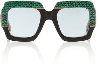 Gucci Square-Frame Snakeskin and Acetate Sunglasses
