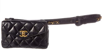 Chanel Black Quilted Lambskin Leather Envelope Belt Bag