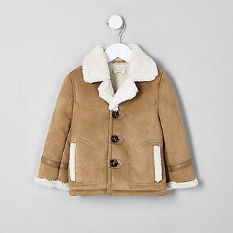 River Island Boys light brown shearling jacket