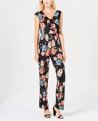 NY Collection Petite Printed Flounce-Trim Jumpsuit