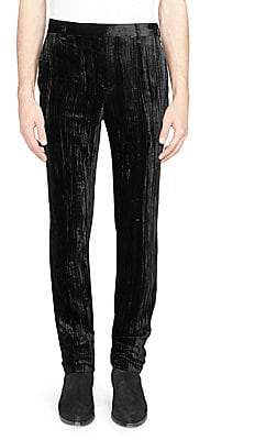 Saint Laurent Men's Crushed Velvet Pants