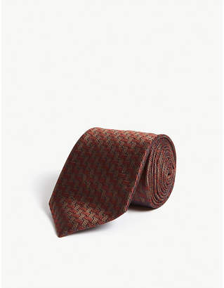 Canali Geometric print silk tie