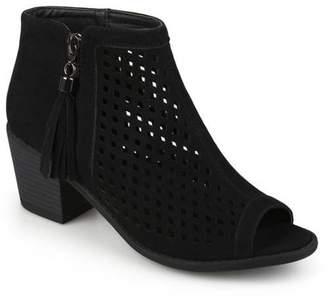 Co Brinley Womens Laser Cut Faux Leather Tassle Booties