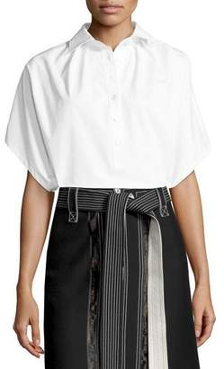 Derek Lam Oversized Short-Sleeve Shirt, White
