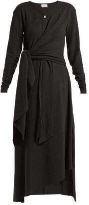 Lemaire Knotted Wool Blend Midi Dress - Womens - Dark Grey