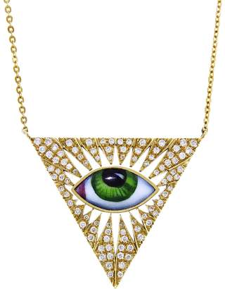 Lito Fine Jewelry Small Green Enamel Triangle Evil Eye Necklace - Yellow Gold