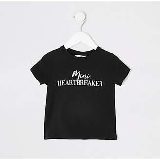 River Island Mini girls black 'Mini heartbreaker' T-shirt