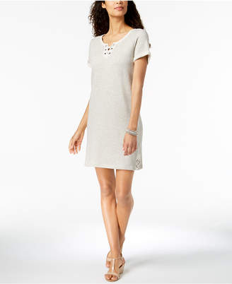 Style&Co. Style & Co Lace-Up T-Shirt Dress