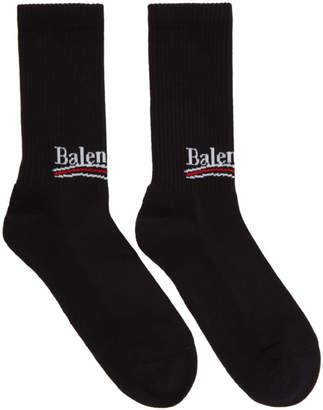 Balenciaga Black Campaign Logo Socks