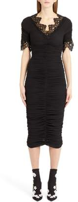Dolce & Gabbana Lace Trim Ruched Silk Blend Dress