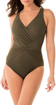 Miraclesuit Rock Solid Twist Front One-Piece Swimsuit