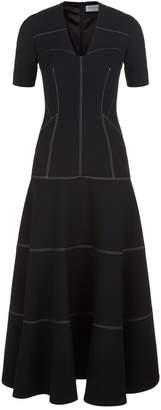 Amanda Wakeley Sculpted V-Neck Midi Dress