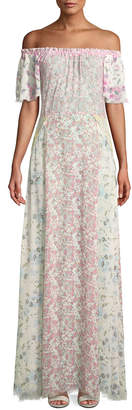 LoveShackFancy Evelyn Floral Silk Maxi Dress Coverup