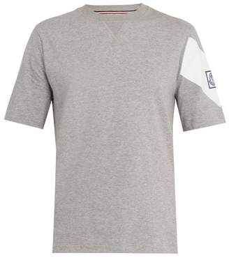 Moncler Gamme Bleu Contrast Sleeve Cotton Jersey T Shirt - Mens - Grey