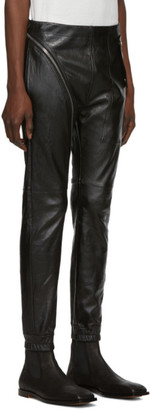 Rick Owens Black Leather Aircut Trousers