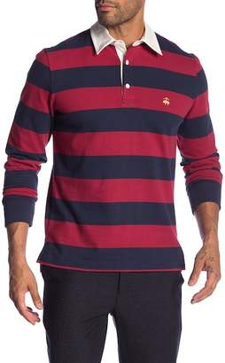 Brooks Brothers Stripe Long Sleeve Rugby Polo