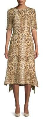ADAM by Adam Lippes Asymmetrical Leopard-Print Midi Dress
