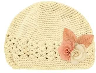 PLH Bows & Laces Linen Flower Crochet Hat