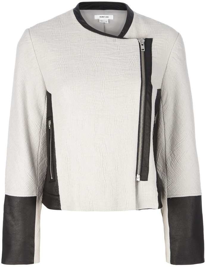 Helmut Lang jaquard leather trim jacket